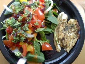 salad and fish